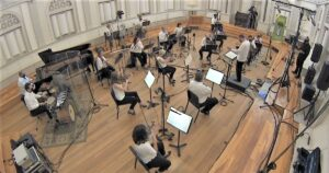 Boston Landmarks Orchestra performing in a studio.